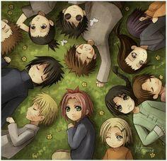 Small naruto characters: uzumaki Naruto, haruno Sakura, ushiha Suske, rock Lee, TenTen, hyuga Neji, yamanaka Ino, nara Shikamaru, akimichi Choji, inuzuka Kiba, hyuga Hinata, aburame Shino
