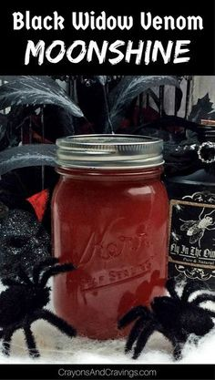 Both sweet and spicy, this black widow venom moonshine is sure to be a hit when it comes to flavor, but it also has a look that screams Halloween. Flavored Moonshine Recipes, Homemade Moonshine, Apple Pie Moonshine, Root Beer Moonshine Recipe, Strawberry Moonshine Recipe, Black Cherry Moonshine Recipes, Raspberry Liquor Recipe, Lemonade Moonshine Recipe, Making Moonshine