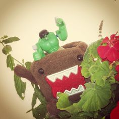 Hulk could be a terrible nuisance, thought Domo, as the giant green superhero hammered away on his head.