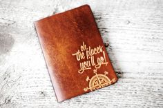"One of the best gifts for travel & study abroad, a gift student travelers will actually use. The classic Dr. Seuss ""Oh! The Places You'll Go"" quote debossed into genuine leather and handcrafted with l"