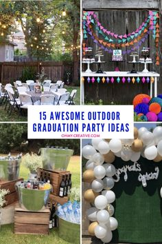Rock your grads party with these 15 awesome outdoor graduation party ideas! Awesome outside grad party ideas include games, decor, photo booth and more fun! Outdoor Graduation Parties, Graduation Party Desserts, Grad Parties, College Graduation Parties, Grad Party Decorations, Graduation Party Centerpieces, Graduation Party Planning, Graduation Party Decor, Graduation Ideas