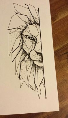 Арт льва чёрной гелиевой ручкой