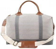 Gray Striped Weekender Bag Monogrammed Weekender by CarolinaDandy Canvas Duffle Bag, Duffle Bags, Canvas Bags, Striped Canvas, One Bag, Nylon Bag, Leather Handle, Grey Stripes, Wallets For Women
