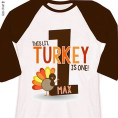 first 1st birthday fall thanksgiving kids personalized turkey birthday raglan shirt on Etsy, $22.50