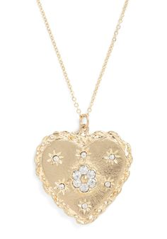 Let me buy this or someone buy it for me... so pretty.     Sparks in Your Heart Necklace - Gold, Solid, Rhinestones, Casual, Cocktail