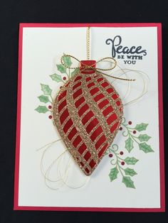 Embellished Ornaments - Stampin' Up! Created in my Stamp A Stack class Dyi Christmas Cards, Beautiful Christmas Cards, Christmas Templates, Christmas Bells, Christmas Ornament, Holiday Cards, Winter Cards, Creative Cards, Merry Christmas Card