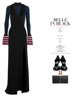 """BELLE IN BLACK"" by catarina-lau-sousa ❤ liked on Polyvore featuring Emilio Pucci, Yves Saint Laurent, Balmain, Nina Ricci, StyleNanda and New York & Company"