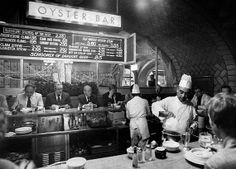 Vintage Photographs of NYC Daily Life in 1955 - Grand Central's Oyster Bar.   Look at those prices!