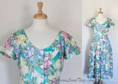 1980's Dress  /  Turquoise Chintz Floral Maxi / by DuncanLovesTess, $38.00