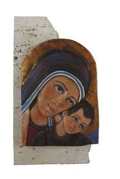 Pie de Alabastro con Icono pintado a mano