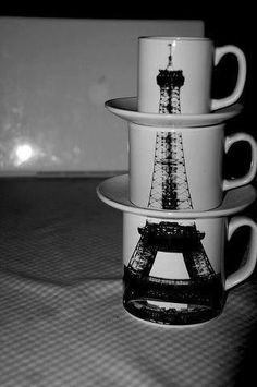We love these stackable mugs. Each cup of coffee takes us on a trip to Paris! What kind of coffee would drink in Paris? French Coffee, I Love Coffee, My Coffee, Coffee Cups, Morning Coffee, Coffee Shop, Mugs Set, Tea Mugs, Cool Mugs