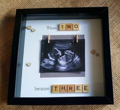 Your place to buy and sell all things handmade When two became three scrabble photo frame, baby scan frame, expecting Scrabble Tile Crafts, Wooden Scrabble Tiles, Scrabble Art, Scrabble Letters, Gifts For New Parents, New Baby Gifts, New Born Gift Ideas, Shower Bebe, Baby Shower