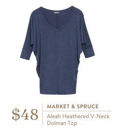 Market & Spruce Aleah Heathered V-neck Dolman