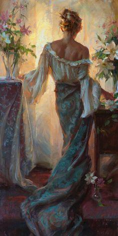 ⊰ Posing with Posies ⊱ paintings illustrations of women children with flowers - Daniel Gerhartz