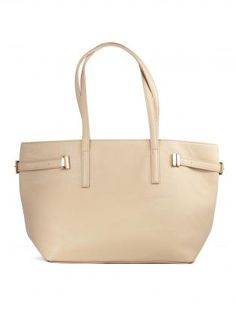Leather Look Nude Tote with Zip Closure & Metal Buckles,  Bag, tote bag  nude color, Chic