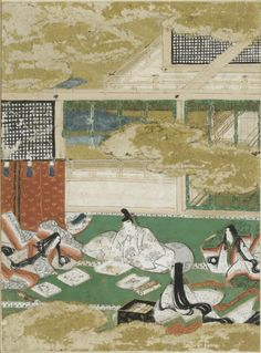 "The Picture Contest (E-Awase), Illustration to Chapter 17 of the ""Tale of Genji"" (Genji monogatari) by Tosa Mitsunobu (c. 1434 - c. 1525)"