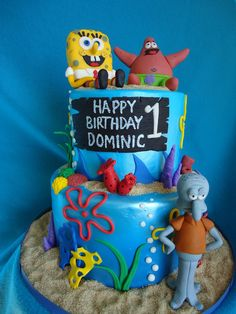 Spongebob Birthday Cakes for Boys | This is a cake I did for a little boys birthday. All of the figures ...