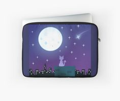 Cat Under The Moonlight Laptop Sleeve #cats #kittens #pets #nyc #moon