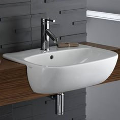 Shop the Twyford Moda Semi Recessed Basin - Made from high quality Vitreous chinaand perfect for domestic and commercial bathrooms. Bathroom Wood Shelves, Sink Shelf, Wood Shelf, Semi Recessed Basin, Inset Basin, Guest Toilet, Downstairs Toilet, Bedroom False Ceiling Design, Kids Bath