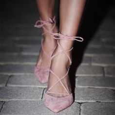 Tonight's shoe choice. We're loving these blush lace up heels!  // Follow @ShopStyle on Instagram for more inspo.
