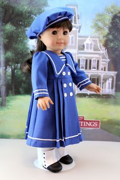 Sailor Style Dress and Hat for Samantha, Rebecca, or other American Girl Doll. $55.00, via Etsy.