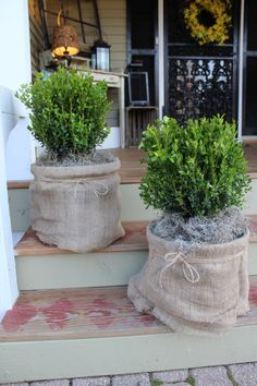 Shabby Chic Burlap and Twine Planter ~ Perfectly DeStressed