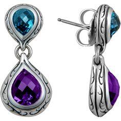 Scott Kay Jewelry Amethyst and Blue Topaz Earrings - Overstock™ Shopping - Top Rated Scott Kay Designer Earrings