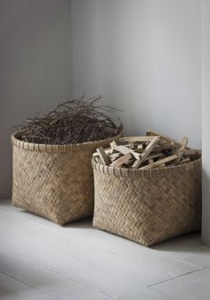 Beautiful #handmade Bamboo Baskets. Great for storaging your logs for the fire!