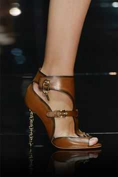 Brown worn leather look open toe heels with gold embellishments/buckles and heel