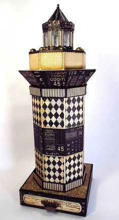 This truly magnificent creation is a lighthouse that truly has a tea light at the top by @Jim Hankins, the Gentleman Crafter! And then a drawer for wonderful knick knacks and keepsakes in the bottom. And the middle pulls out into a mini album. Wow! Amazing! Click for more photos #graphic45