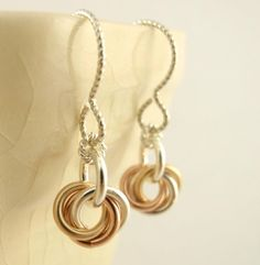 "Sterling Silver, 14kt Rose and Yellow Gold Filled ""Little Cutie"" Earrings by unkamengifts, $30.00"