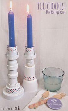 Un candelabro hecho con tapones de plástico: ¡Originalidad reciclando!