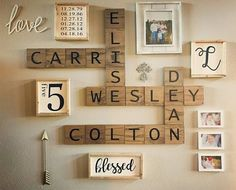 A customer shared her completed gallery wall with the custom signs from the shop. Number 5 sign,important dates sign,blessed sign,initial sign. Neutralbydesign@etsy