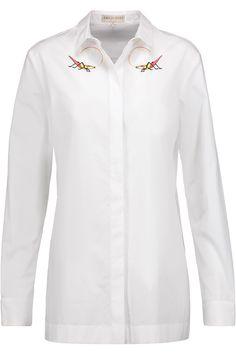 EMILIO PUCCI Embroidered Cotton-Poplin Top. #emiliopucci #cloth #top
