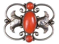 Danish silversmith Georg Jensen (1866-1935) Vintage Jewellery, Jewelry Art, Root Chakra Healing, Famous Jewelers, Belle Epoch, Gem Stones, Scandinavian Design, Red And Pink, Craftsman