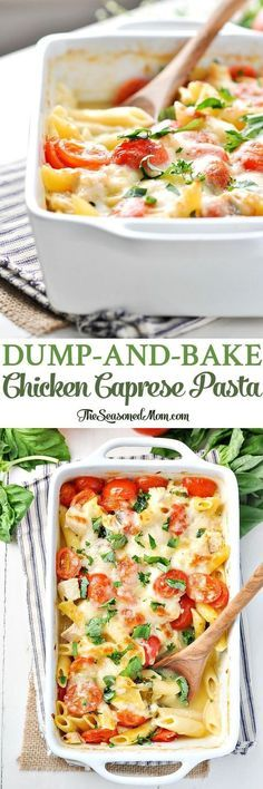 This Dump-and-Bake Chicken Caprese Pasta is an easy and healthy dinner recipe! Easy Dinner Recipes | Healthy Dinner Recipes | Dinner Ideas | Healthy Recipes Easy | Healthy Dinners | Chicken Recipes | Pasta Recipes #TheSeasonedMom