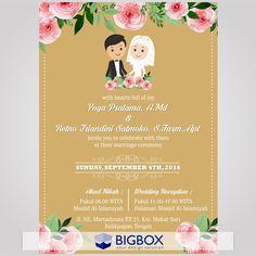 Muslim Wedding Invitations, Creative Wedding Invitations, E Invite, Muslimah Wedding, Islamic Posters, Akad Nikah, Wedding Planning Checklist, Watercolor Wedding, Wedding Decorations