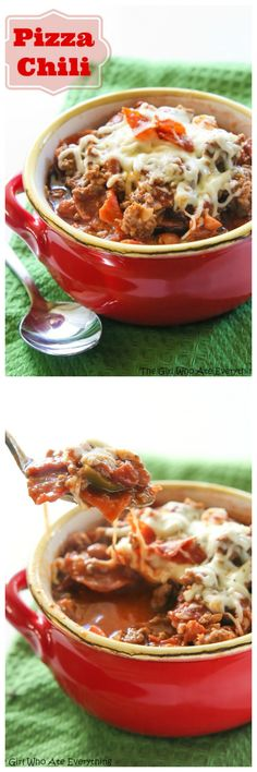 This Pizza Chili is a hearty dish filled with beef, sausage, pepperoni, and green peppers simmering in a salsa pizza sauce. It makes enough to feed a crowd so invite your friends over! the-girl-who-ate-everything.com