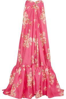 DELPOZO Robe aus Gaze aus einer Seidenmischung mit Blumendruck | NET-A-PORTER