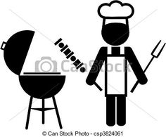Vector - illustration of a  chef making bbq -2 - stock illustration, royalty free illustrations, stock clip art icon, stock clipart icons, logo, line art, EPS picture, pictures, graphic, graphics, drawing, drawings, vector image, artwork, EPS vector art