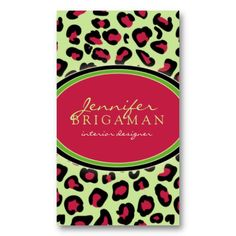 Girly leopard print business card girly and business funky leopard print business card pinkgreen reheart Images