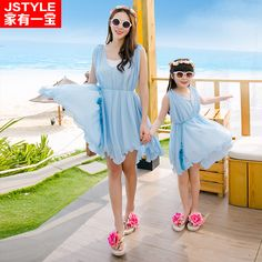 Matching Mother Daughter Dresses Sleeveless Family Girls Loose Dress For Party Holiday Family Clothes Vestido Mae E Filha 2016