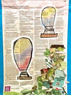 Sanomalehti toimii hienona pohjana taideteoksille.  #aamulehti #koulumaailma #askartelu #crafts Bottle Opener, Paper Crafts, Tissue Paper Crafts, Paper Craft Work, Papercraft, Paper Art And Craft, Paper Crafting