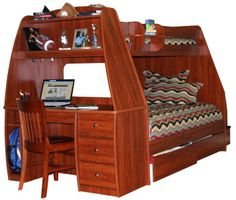 Twin Over Full Bunk Bed With Desk & Stairs