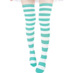 ZANZEA Sexy Lady Over The Knee Thigh High Long Striped Stocking In... (185 MXN) ❤ liked on Polyvore featuring intimates, hosiery, socks, long socks, above the knee socks, blue socks, sexy long socks and striped over the knee socks