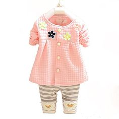 Baby Girls 2pc Cardigan Top Stripe Leggings Clothing Set OutfitPinkS * You can get more details by clicking on the image.