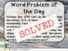 The wait is finally over!! Check out the fully explained solution to the Word Problem of the Day on my blog!  Be sure to subscribe on my blog for to get instant notification on the next word problem via email! Let's keep our students sharp at math! :)