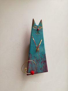 Gato azul turquesa reloj reloj de cerámica de la pared del