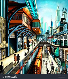 Illustration of a city street in the style of retro-futurism, suspension railway, train, art deco, the townspeople