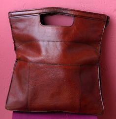 SALE /// Vintage Burgundy Leather Handbag Clutch by misele on Etsy